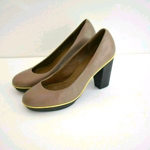 Camper Classic Taupe Chunky Leather Heels …